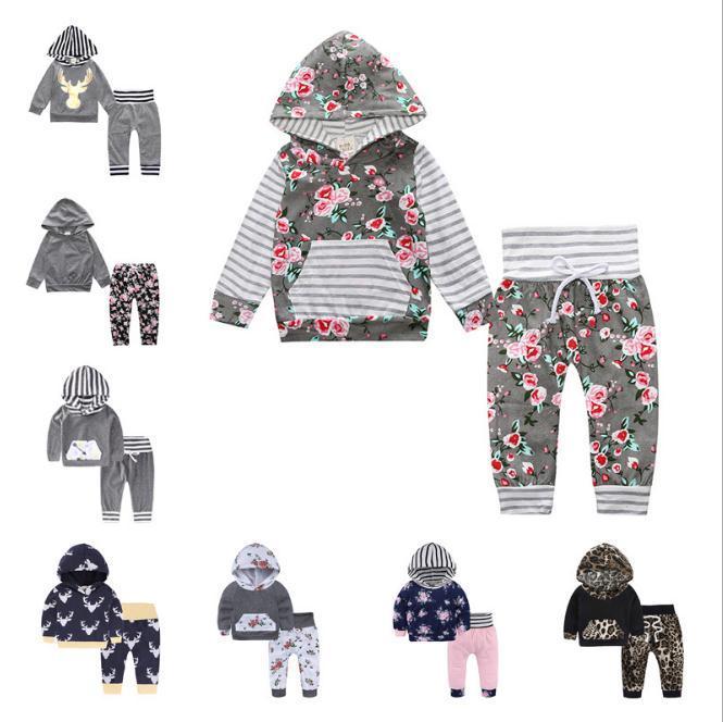 Baumwolle 2018 Herbst aktive Kinder Freizeitkleidung Baby Kleidung Hoodies + Hosen 2 Stück Mädchen Anzug Baby Mädchen Kleidung gesetzt