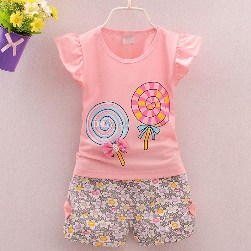 Children Lollipop outfits girls top+Floral shorts 2pcs/set 2018 summer Baby suit Boutique kids Clothing Sets 4 colors C3843