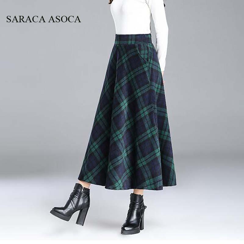 Estilo preppy plisado de la falda larga de cuadros estudiante niñas otoño invierno cintura alta falda de la tela escocesa rojo de las mujeres