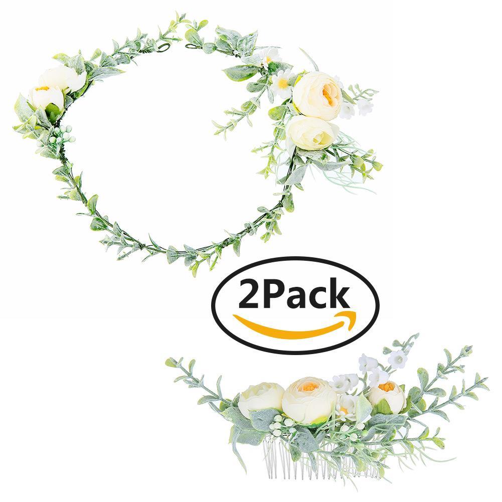 Simulation Flower Hair Combs Manor Beach Wedding Bride Hair Accessories Head Decorations Hair Clips Bridal Wedding Floral Garland JCG036