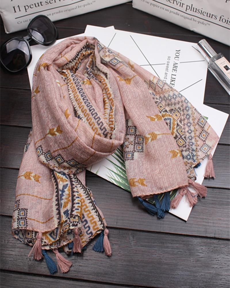 2018 women's new diamond-shaped plaid literary style Square printing cotton soft long scarf travel vacation beach sunshade shawl