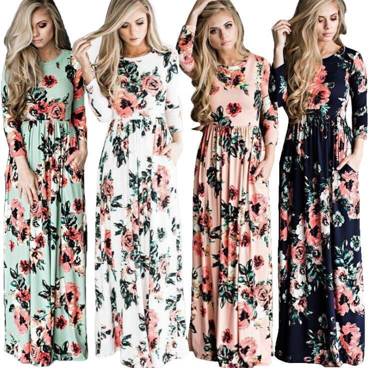 Mulheres Floral Imprimir 3/4 Manga Boho Vestido de Noite Vestido de Festa Longo Maxi Vestido De Verão Vestido de Verão Vestidos Casuais 5 Estilos OOA3240