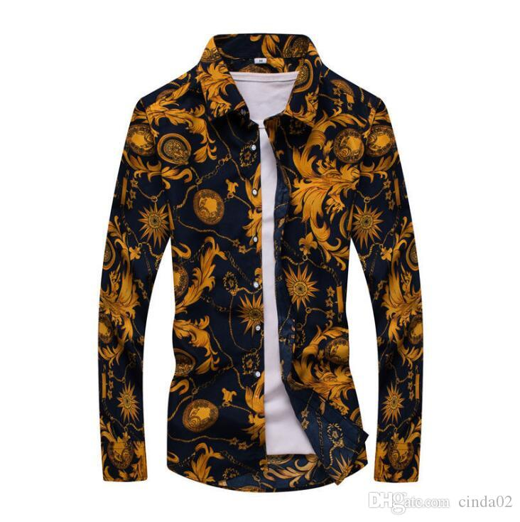 Nouveau Printemps Hommes Chemises Mode manches longues imprimé boutonné formel d'affaires à pois Floral hommes Chemise M-7XL