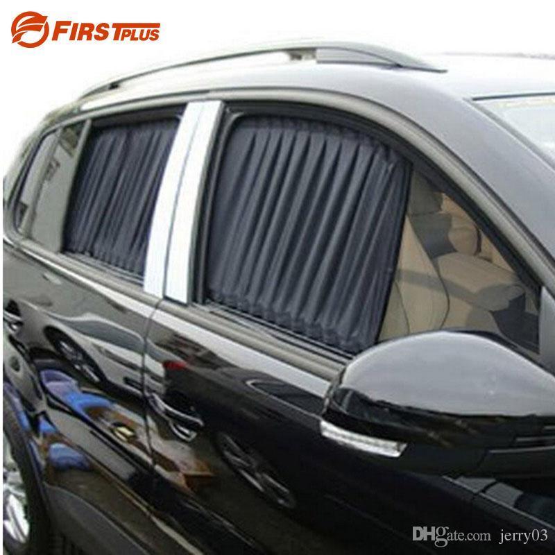 2 x 업데이트 70L 알루미늄 합금 탄성 자동 자동차 사이드 창 양산 커튼 태양 바이저 블라인드 - 검정 / 베이지 색 / 회색