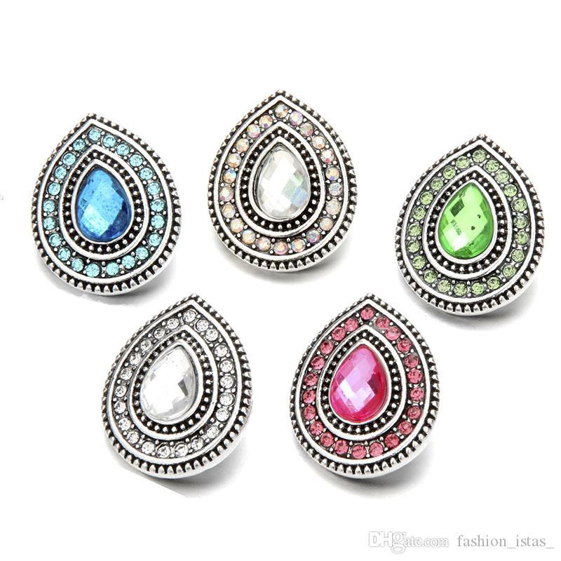 Incrustaciones de forma de gota cristal rhinestone botones a presión 18mm flor de metal decorativos encantos de botón para bricolaje resultados de la joyería a presión