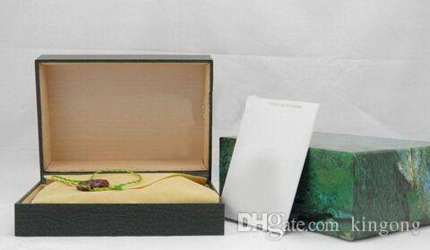 ROLEX Izle Kutusu Için ücretsiz kargo Lüks İzle Mens Orijinal Iç Dış Bayanlar Saatler Kutuları Erkekler Kol Saati Yeşil kutu kitapçık kart