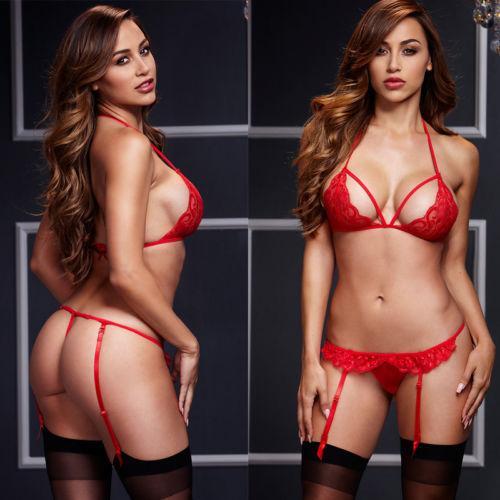 Sexy Kobiety 2018 Nowa Lato Bielizna Czarna Czerwona Koronka Bielizna Bielizna Babydoll Sets Setwear