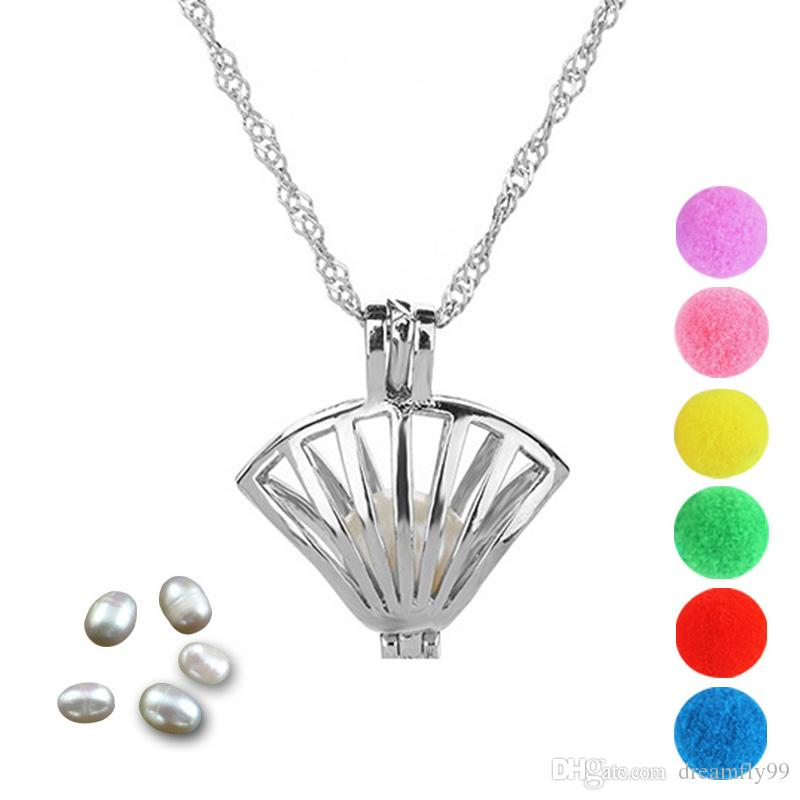 Pearl Cage Silver Shell Locket Pendant Findings Cage Essential Oil Diffuser Locket For Oyster Pearl Fiber Ball