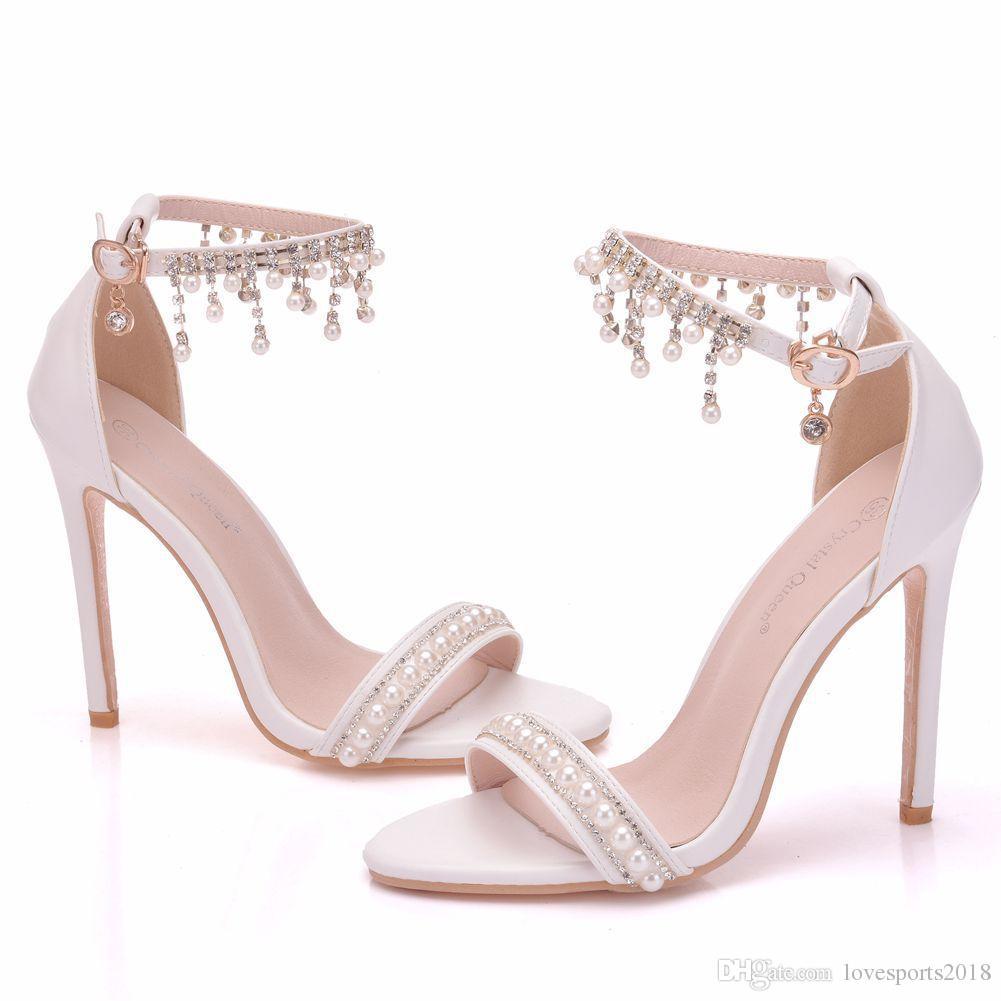 New White Beading Toe Sapatos Abertos para As Mulheres De Cristal De Salto Alto Moda Stiletto Salto Sapatos De Casamento Tira No Tornozelo Sandálias De Noiva