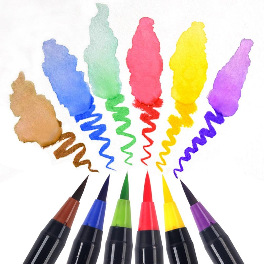 20 Color Premium Painting Soft Brush Pen Set Watercolor Markers Pen Effect Best For Coloring Books Manga Comic Calligraphy