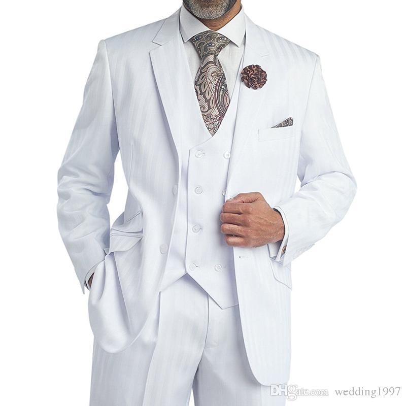 Tres piezas del novio de la boda blanca esmoquin con muesca solapa Classic Fit trajes de hombres formales 2018 por encargo Chaqueta Pant Chaleco