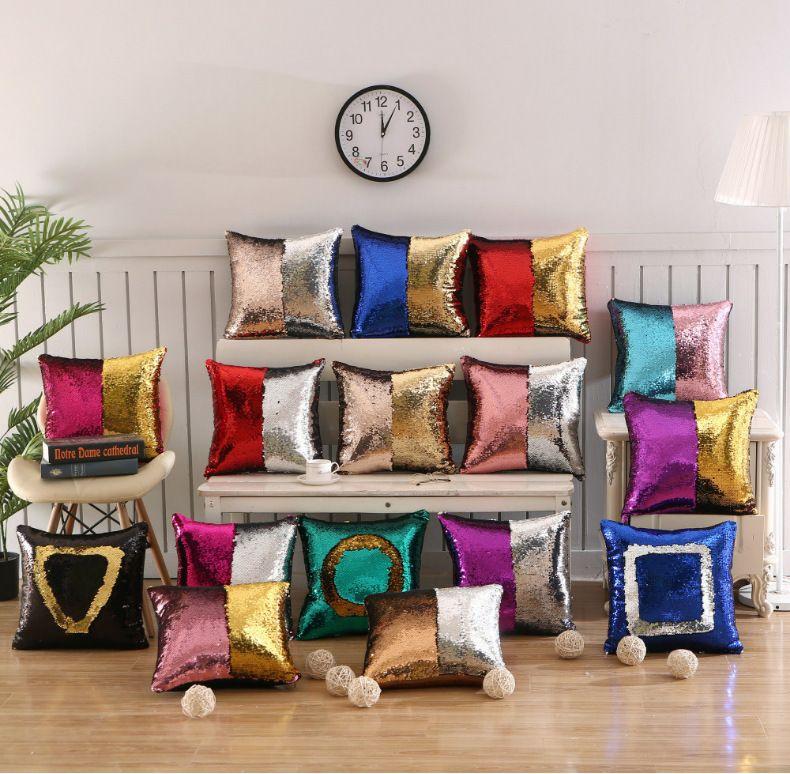 Federa decorativa sirena paillettes colorato quadrato pianura a maglia nascosta cerniera cuscino casa auto divano cuscino 40 * 40 cm