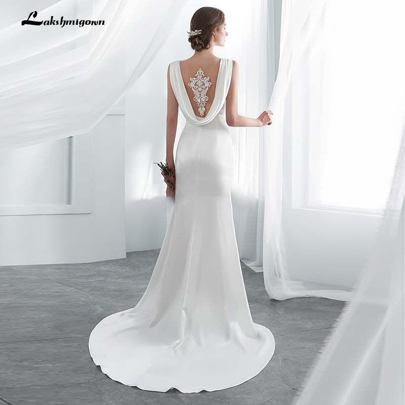 Elfenbein elegante Fleck Mermaid Brautkleider Vestido De Noiva mit Shawel Sweep / Pinsel Zug Brautkleid