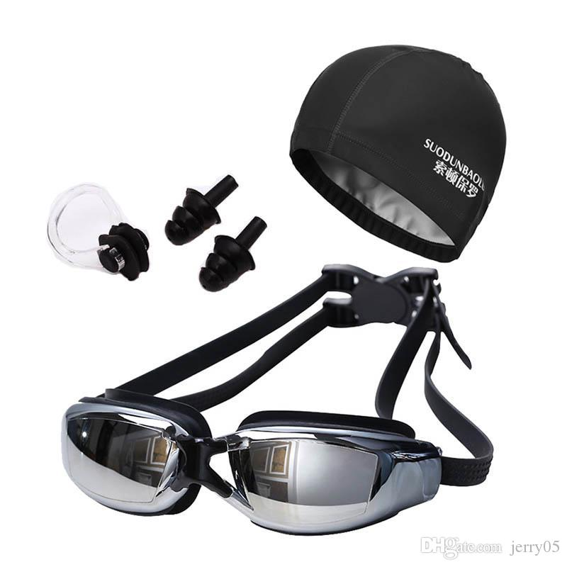 Neue Frauen Männer Anti Fog UV-Schutz Surfen Schwimmbrille Professionelle Schwimmen Brille mit Badekappen Ohrstöpsel Nase Clip Set