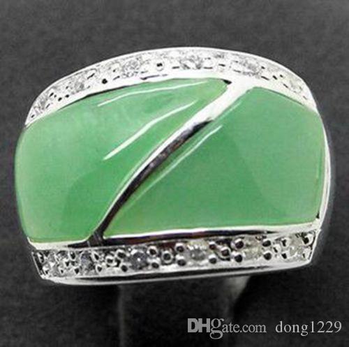 Spedizione gratuita Natural Green jade 22X16mm Silver Marcasite Ring Size 7/8/9/10
