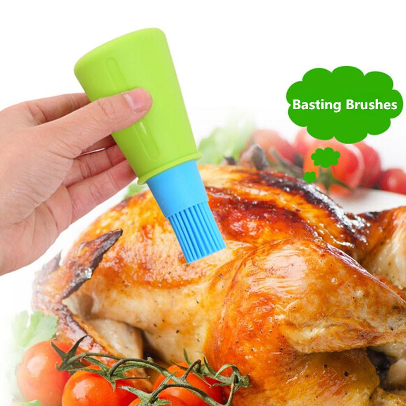 1pc Grill Oil Bottle Brushes Tool Heat Resisting Silicone BBQ Basting Oil Brush Barbecue Cooking Pastry Oil Brushes IC674474