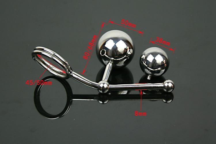 Нержавеющая сталь металл двойной мяч анальная пробка анальный крюк эротический секс-рабыня с пенисом петух кольца фетиш целомудрие секс-игрушки для мужчин Y18110106