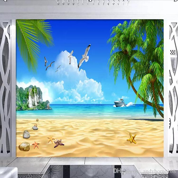 TV background wall paper living room seamless mural 3d background wall cloth seascape landscape blue sky white sea wall cloth