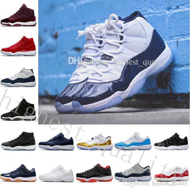 Barato Novo 11 Sapatos de Basquete Mens Sneakers Ginásio Vermelho GS Midnight Marinha 'Win Like 82' Espaço Jam Concord Produzido Lenda Azul 11s Formadores Para homens