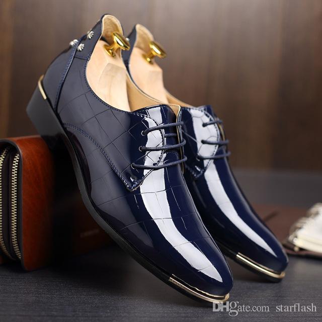 Scarpe eleganti di lusso da uomo in pelle verniciata nera rivetto scarpe a punta designer italiano oxford uomo lace up formale scarpe da sposa plus size Q-201