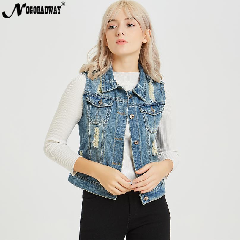 S 5XL Плюс размер джинсовый жилет женские джинсы жилет без рукавов рваные пальто куртка женская осень лето верхняя одежда 2018 новый повседневный