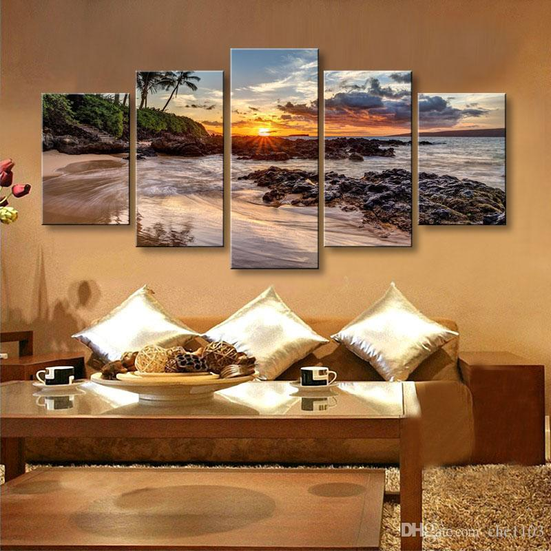 5 pieces high-definition print beach landscape canvas oil painting poster and wall art living room picture PL5-225