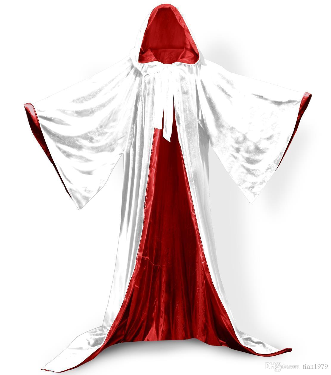 Wicca Christmas.2019 Long Sleeves Velvet Hooded Cloak Wedding Cape Halloween Wicca Christmas Hooded Witchcraft Cape Medieval Wicca Robe Kids Cosplay Dress From