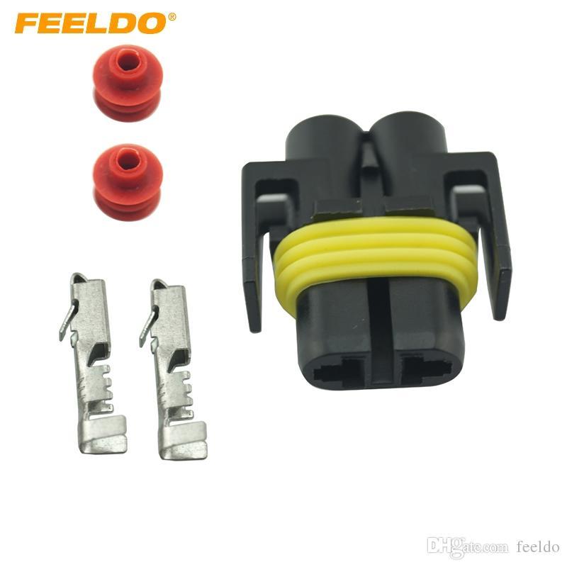 FEELDO 20 Takım Araba Kadın HID Far Ampul Soket Konnektörler Için H8 / H9 / H11 / 880/881 LED / HID Işıkları # 1820