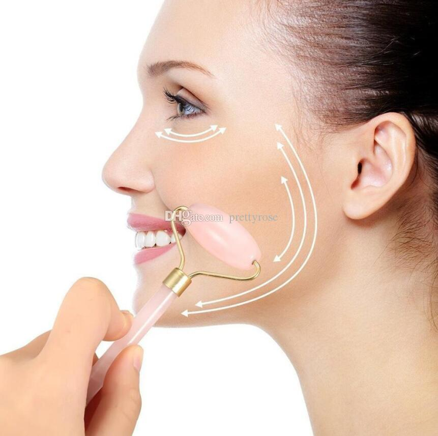 Pink Quartz Jade Massage Roller Massager Facial Relajación Facial Herramienta adelgazante Lifting Facial Anti Arrugas Anti Celulitis Cuerpo Envío Gratis