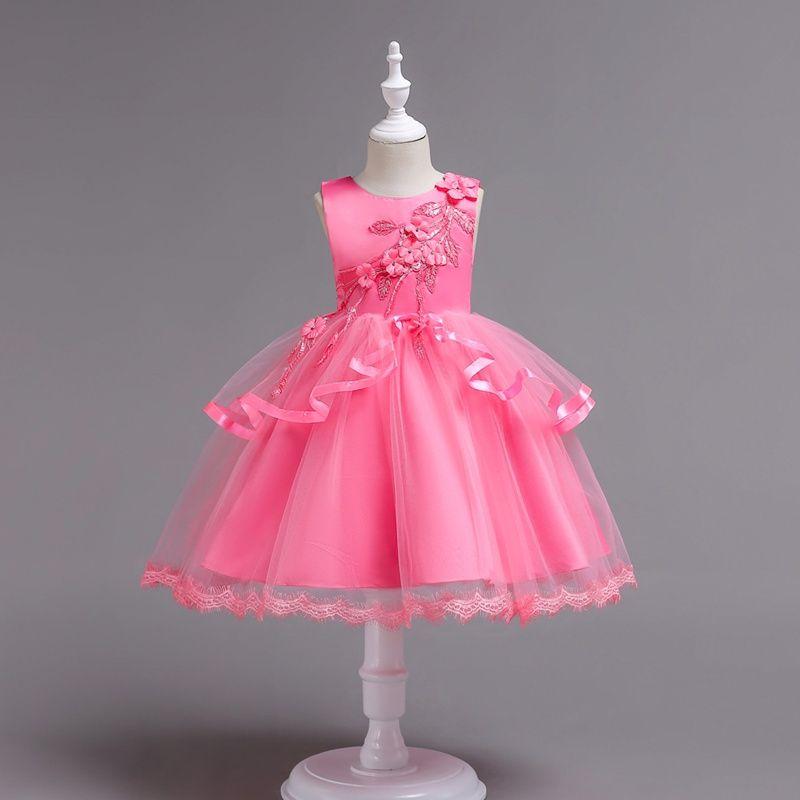 2018 niños rosa flores tarde princesa vestidos niños ropa de fiesta bebé niñas elegante ropa niño vestido vestido de bola para 110-160cm