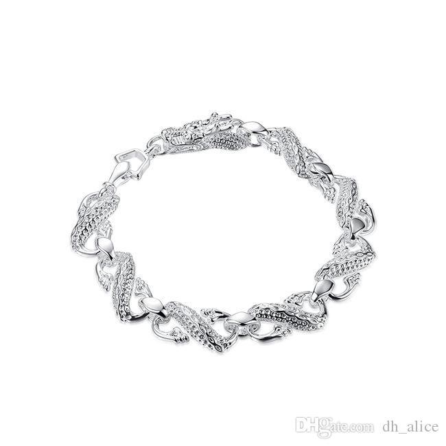 Mała biała smok bransoletka sterling posrebrzana bransoletka; New Arrival Fashion Mężczyźni i kobiety 925 Srebrna Bransoletka SPB130