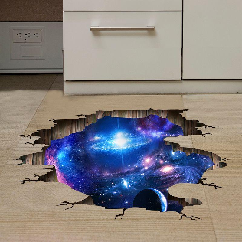 Venta al por mayor 1 PCS 60 * 90cm DIY 3D Universo pared Galaxy pegatinas de vinilo Suelo Techo decoración libre del envío