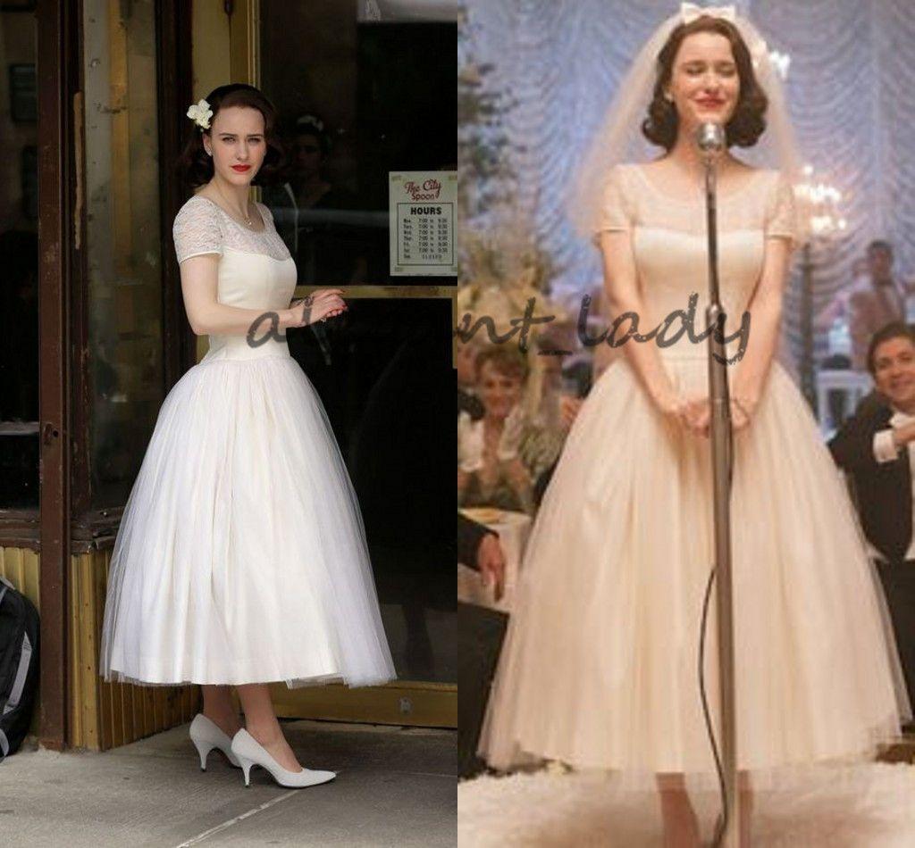 Vintage Tea-length Wedding Dresses 2018 Retro The Marvelous Mrs. Maisel Short Sleeve Puffy Skirt Garden Lace Bridal Wedding Party Gown
