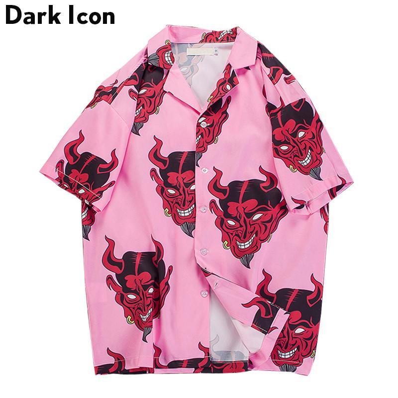 Devil Full Printing Neck Turn Down Casual Shirts Hommes 2018 Summer High Street Chemises pour Hommes Rose / Violet