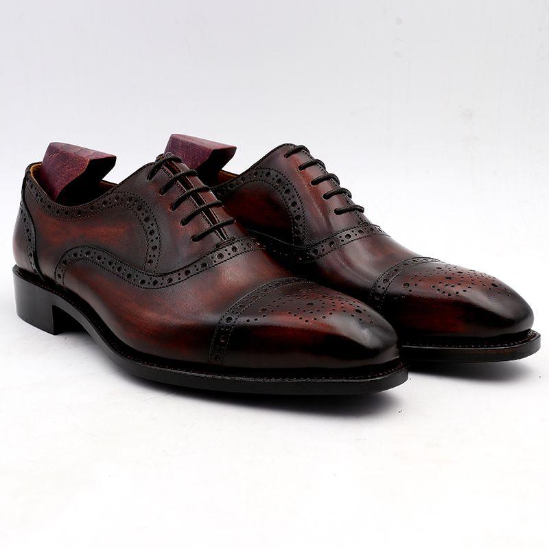 Chaussure de mariage pour homme Chaussures à la main Chaussures de mariée faites main Assortiment Assortiment Patine Semelle extérieure vin Bout carré Carré en cuir veau véritable OX-007
