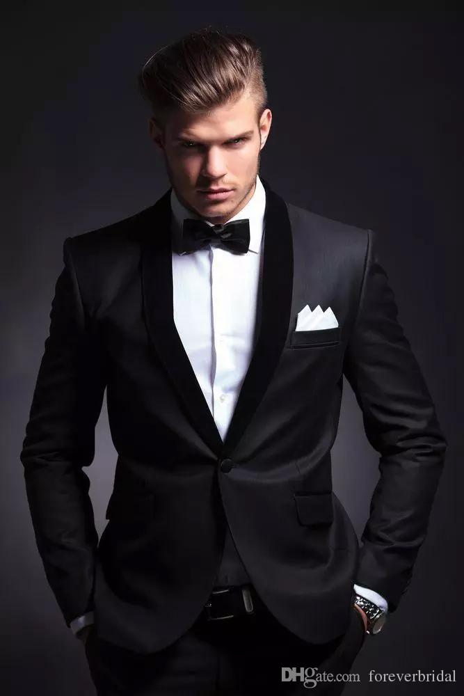 Handsome Classic Fit Mens Formal Jackets Suits One Button Black Two Pieces Notched Lapel Cheap Wedding Clothing Tuxedos For Bridegroom