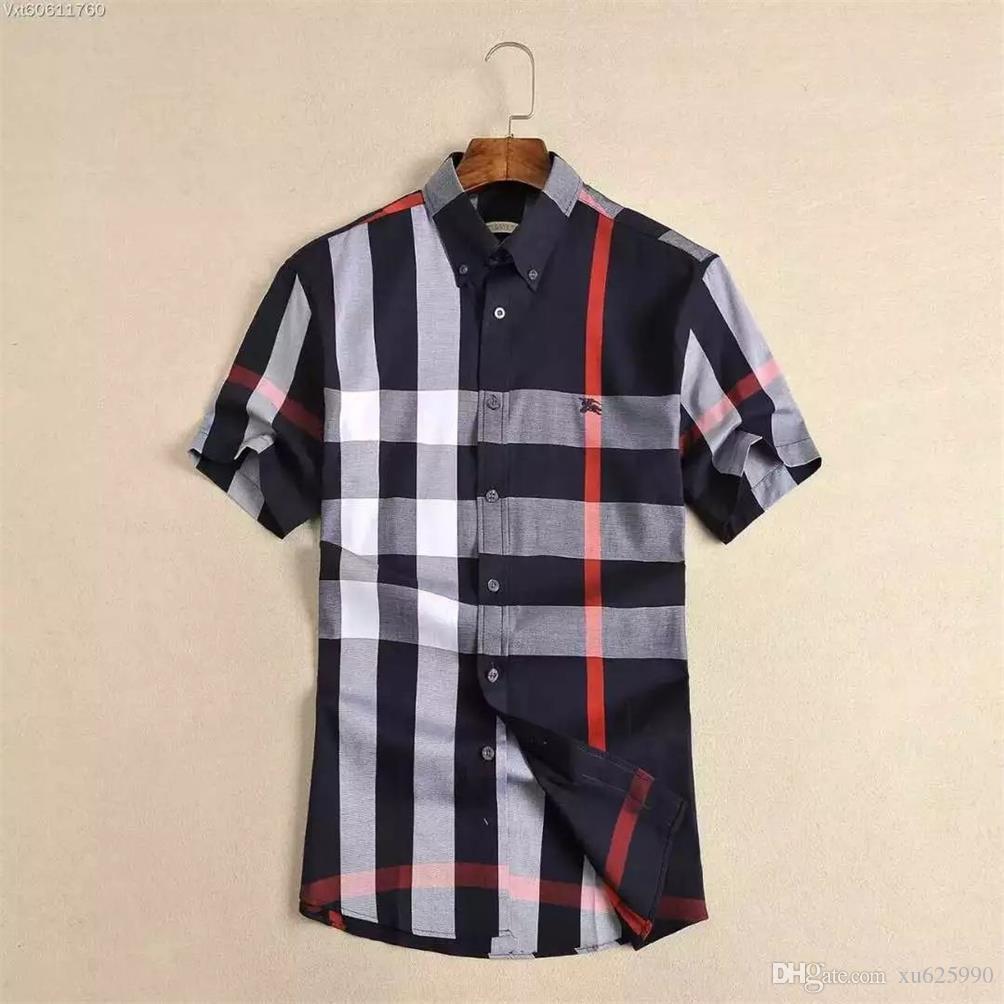 Le plus récent 2018 mode vague d'hommes Chemise à carreaux Impression couleur Mélange de luxe Chemises manches courtes Chemises Harajuku Medusa Men # S78