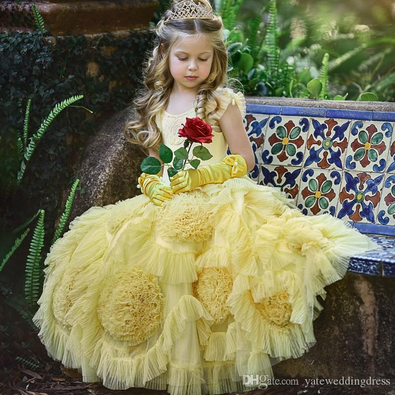 Lumière jaune Fleur Filles Robes manches Jewel Capped Pageant Robes Ruffle hiérarchisé Custom Made Party Formal Robes New venir