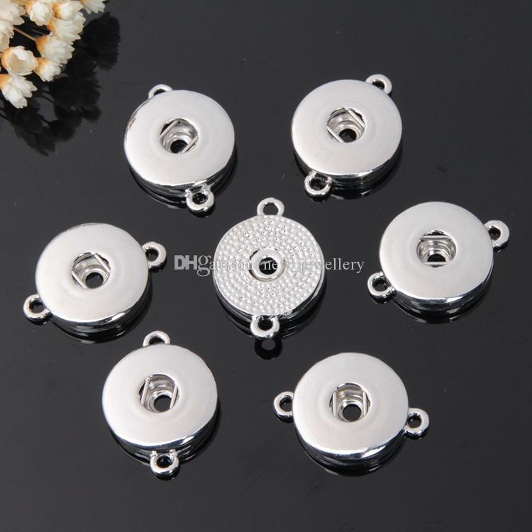 Noosa Chunks Plata Oro Metal 18 MM Ginger Snap Button Base Colgante para DIY Botón Snap Button Pulsera Joyas