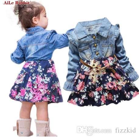 AiLe Кролик INS осень девушки платья цветочные джинсовые с длинными рукавами платье цветы пояс мода летающий рукав детское платье дети k1