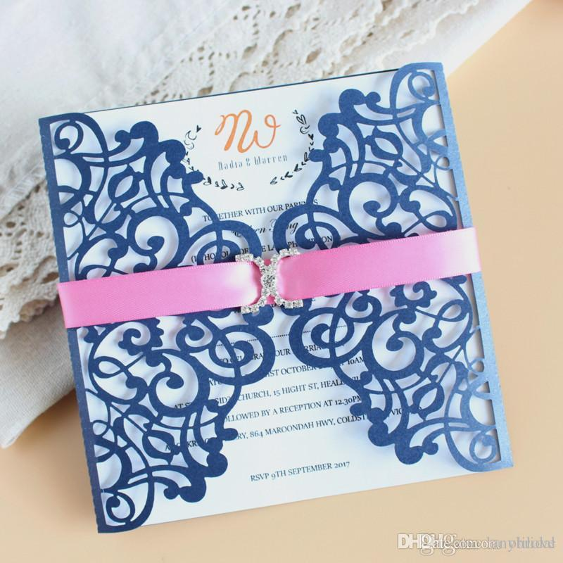 Free Shipping Personalized Laser Cut Flower Wedding Invitation Cards Free Printed Blue Hollow Party Card Printable With Ribbon Envelope