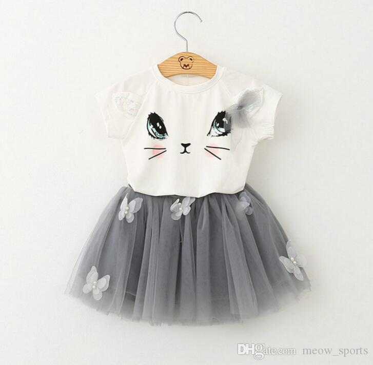 Girls Clothing Sets New Summer Fashion Style Cartoon Cat Printed T-Shirts+Net Veil Dress 2Pcs Girls Clothes Sets