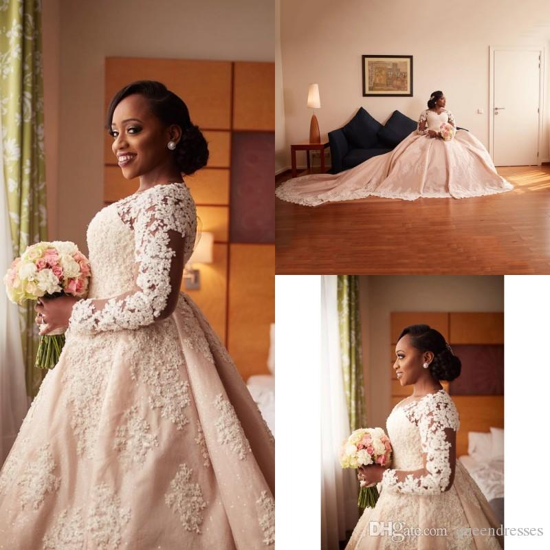 Discount Champagne Vintage Plus Size Wedding Dresses Lace Long Sleeve  Sweetheart A Line Long Train Wedding Gowns Bridal Dresses Hochzeitskleider  2018 ...