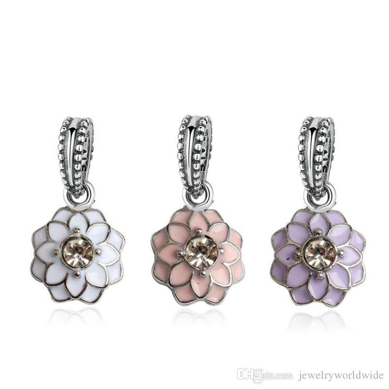 4 colori fiore con cristallo interno ciondola fascino tallone grande buco moda donna gioielli stile europeo per collana braccialetto fai da te