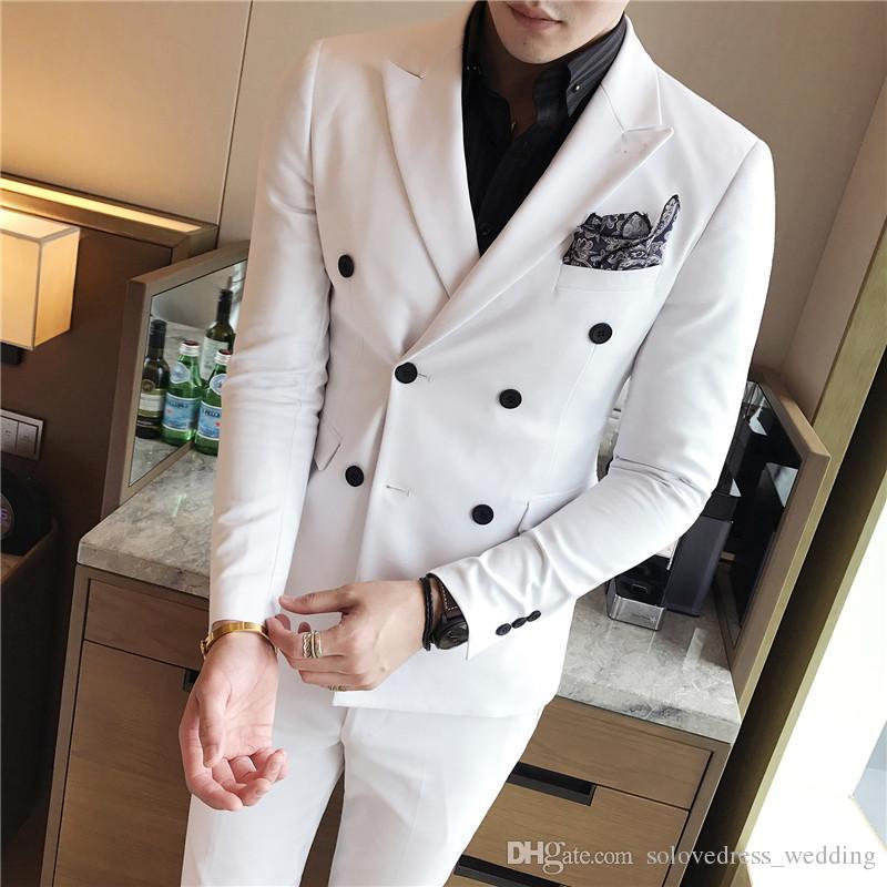 Nouveaux costumes pour hommes 3 pièces Slim Fit smokings de marié marié Blazer croisé Blouses Mariage Robes Costumes (Veste + Pantalon + Gilet)