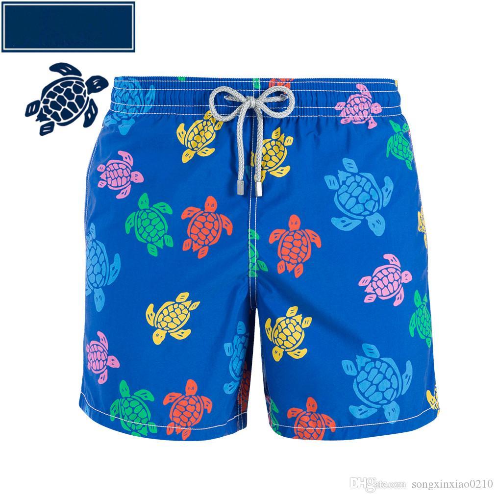 Мужские пляжные шорты личность печати 2018 лето тонкий раздел дышащий комфорт случайные мужские хлопчатобумажные шорты с тегом