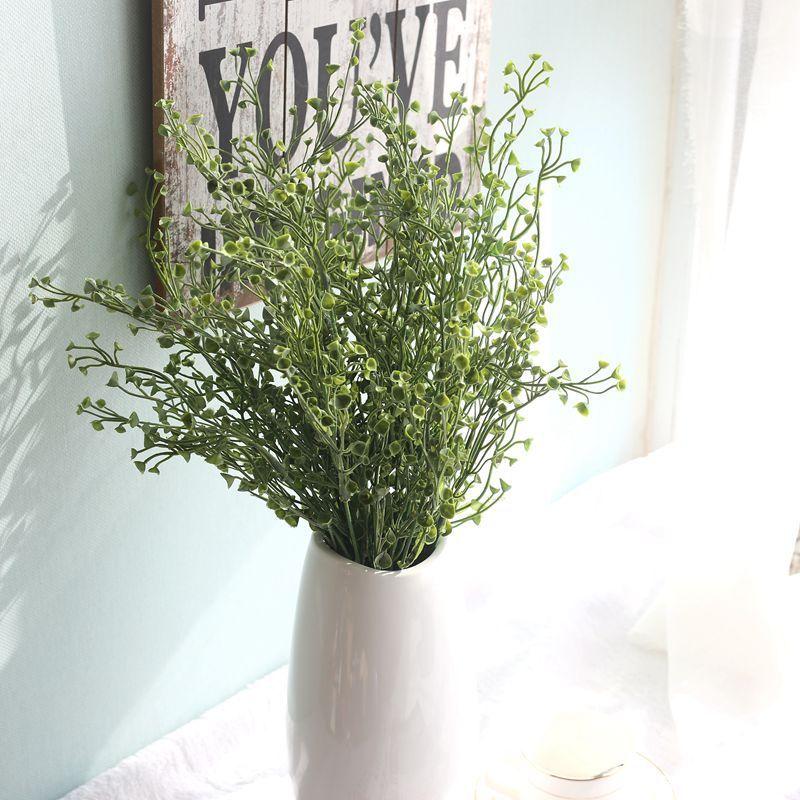 Trasporto libero all'ingrosso 1PC plastica artificiale 7 rami erba pianta fiore finto fiore matrimonio disposizione casa natale decorazione
