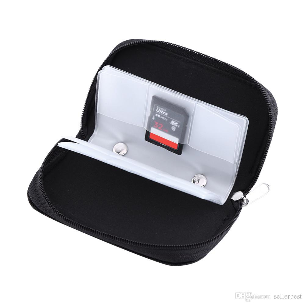 Nylon Memory Card Case For CF/SD/SM/SD/SDHC Card Storage Box Holder Carrying Pouch Case with Zipper Design Black Free Shipping