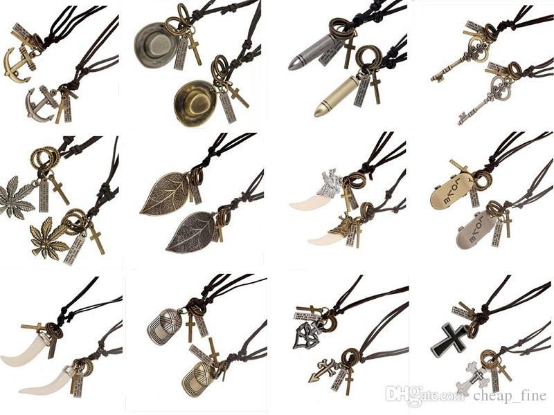 1pair(2pcs) Fashion Genuine Leather Necklaces Anchor Necklace Punk Retro Adjustable Key Cross Pendant Necklaces For Couple