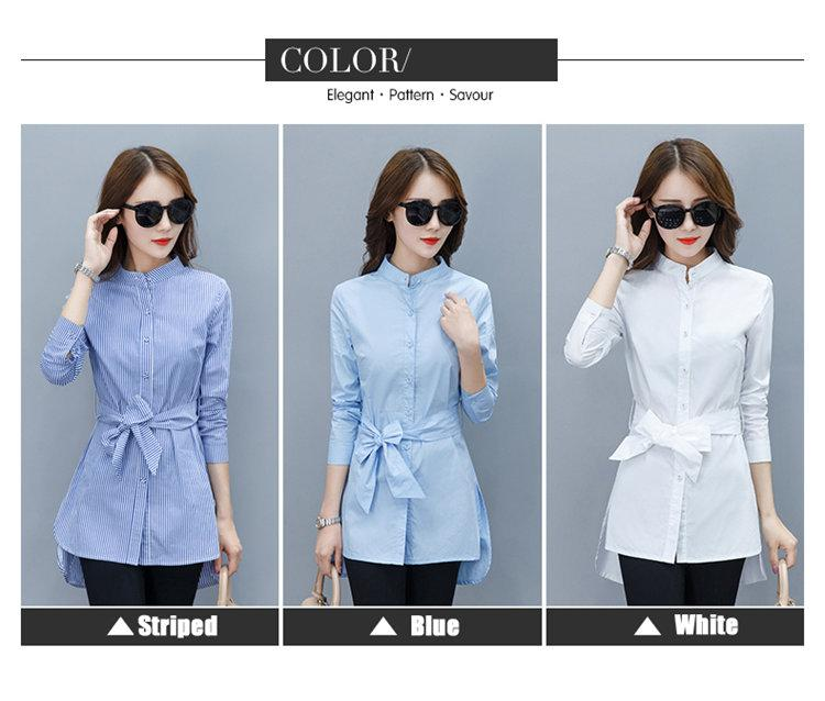 2019 Fall Women Shirts Fashion Chiffon Blouse Stripe Peplum Tops Women Bow Long Sleeve Blusas Mujer Fashion Rayas Chemise Femme (1)